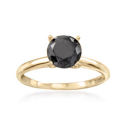 1.00 Carat Black Diamond Solitaire Ring in 14kt Yellow Gold, , default