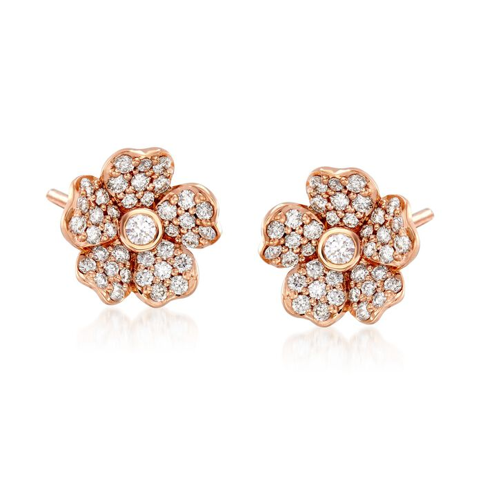 """Mikimoto """"Cherry Blossom"""" .36 ct. t.w. Diamond Floral Earrings in 18kt Rose Gold , , default"""