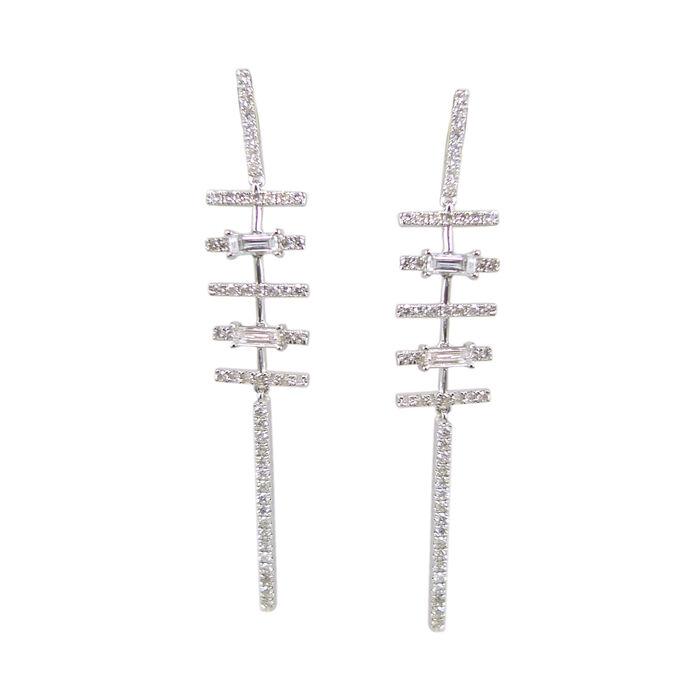 1.54 ct. t.w. Diamond Linear Drop Earrings in 18kt White Gold