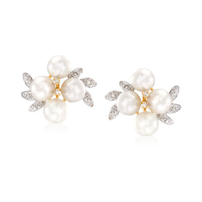 5.5-6mm Cultured Pearl Cluster Earrings with Diamond Accents in 14kt Yellow Gold, , default