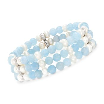 Aquamarine and 6-6.5mm Cultured Pearl Bracelet in Sterling Silver, , default