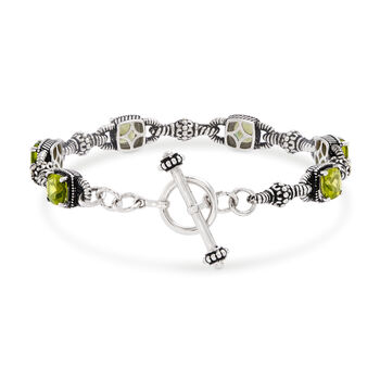 """6.65 ct. t.w. Peridot Bracelet in Sterling Silver and 14kt Yellow Gold. 7"""", , default"""