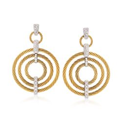 "ALOR ""Classique"" .25 ct. t.w. Diamond Yellow Cable Earrings With 18kt White Gold, , default"