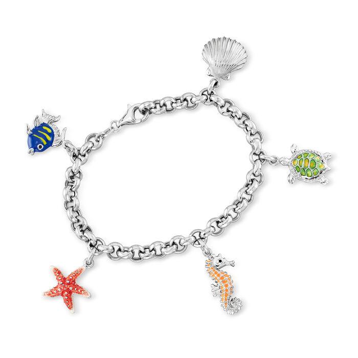 Italian Sterling Silver Rolo-Link Sea Life Charm Bracelet with Multicolored Enamel