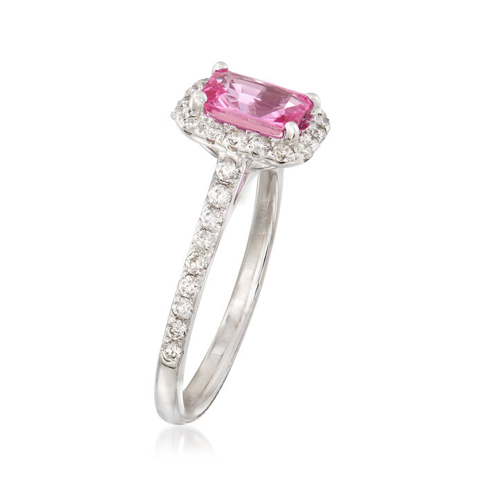 1.10 Carat Pink Sapphire and .50 ct. t.w. Diamond Halo Ring in 14kt White Gold