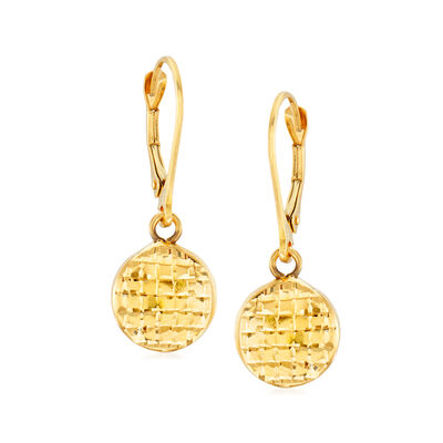 Italian 14kt Yellow Gold Textured Disc Drop Earrings, , default