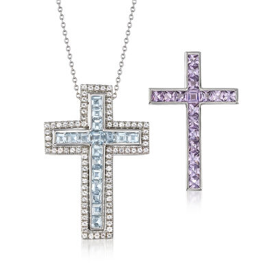 5.50 ct. t.w. Multi-Gem Interchangeable Cross Pendant Necklace Set in Sterling Silver