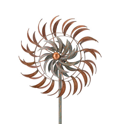 "Regal ""Copper Petals"" Metal Outdoor Rotating Wind Spinner, , default"