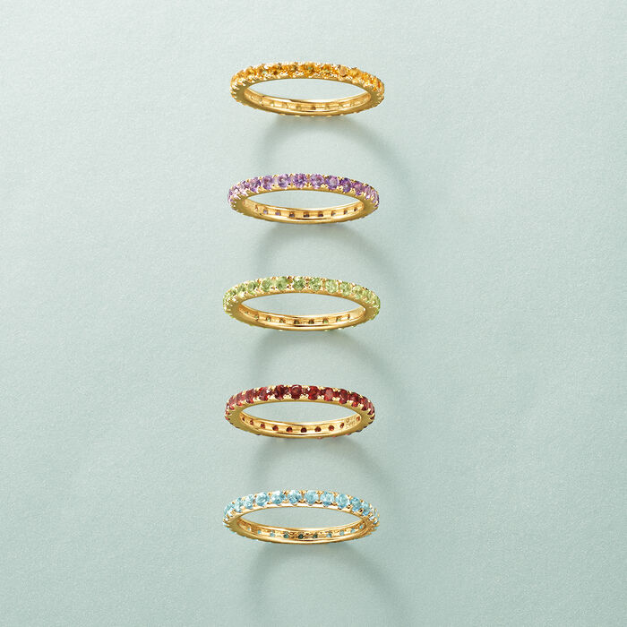 1.20 ct. t.w. Blue Topaz Eternity Band in 14kt Yellow Gold