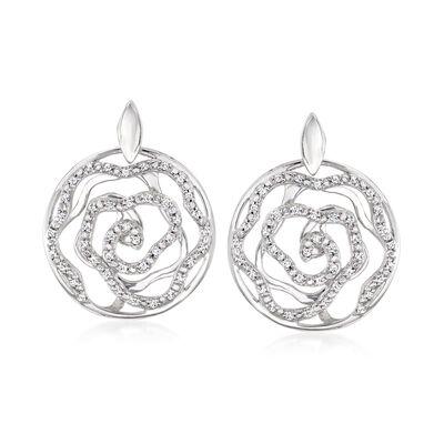 .41 ct. t.w. Diamond Openwork Floral Drop Earrings in Sterling Silver