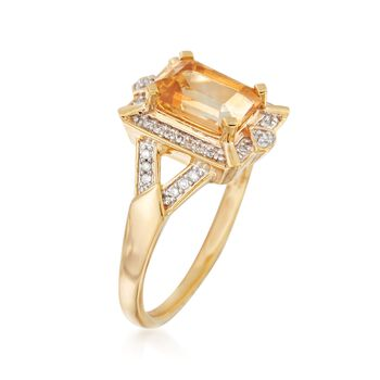 1.40 Carat Citrine and .10 ct. t.w. Diamond Ring in 18kt Gold Over Sterling, , default