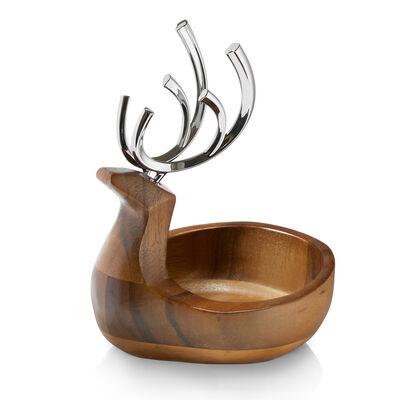 Nambe Reindeer Wood and Chrome Candy Dish