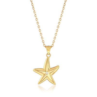 22kt Yellow Gold CZ Starfish Pendant Necklace with a CZ Accent , , default