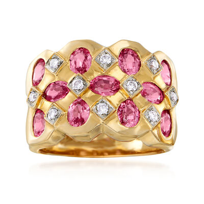 C. 1990 Vintage 2.75 ct. t.w. Pink Sapphire and .20 ct. t.w. Diamond Checkerboard Ring in 14kt Yellow Gold, , default