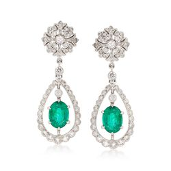C. 2000 Vintage 2.44 ct. t.w. Emerald and 1.20 ct. t.w. Diamond Drop Earrings in 18kt White Gold, , default