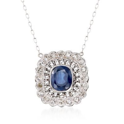 C. 2000 Vintage 2.70 Carat Sapphire and .60 ct. t.w. Diamond Necklace in Platinum, , default