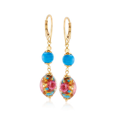 Italian Multicolored Murano Bead Drop Earrings in 18kt Yellow Gold Over Sterling Silver, , default