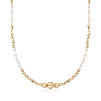 2.5-3mm Cultured Seed Pearl and 14kt Yellow Gold Bead Necklace