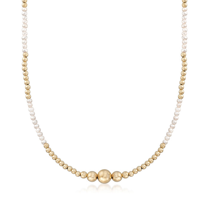 2.5-3mm Cultured Seed Pearl and 14kt Yellow Gold Bead Necklace, , default