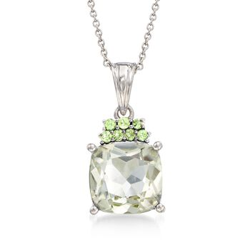 "5.00 Carat Green Amethyst and .20 ct. t.w. Peridot Pendant Necklace in Sterling Silver. 18"", , default"