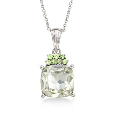 5.00 Carat Green Prasiolite and .20 ct. t.w. Peridot Pendant Necklace in Sterling Silver, , default