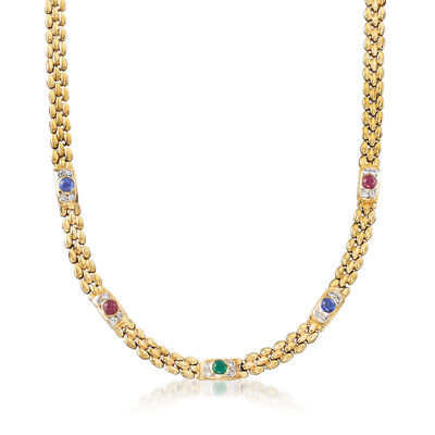C. 1980 Vintage 2.65 ct. t.w. Multi-Gemstone and .50 ct. t.w. Diamond Station Necklace in 14kt Yellow Gold, , default