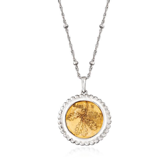 Italian Genuine 20-Lira Coin Pendant Necklace in Sterling Silver