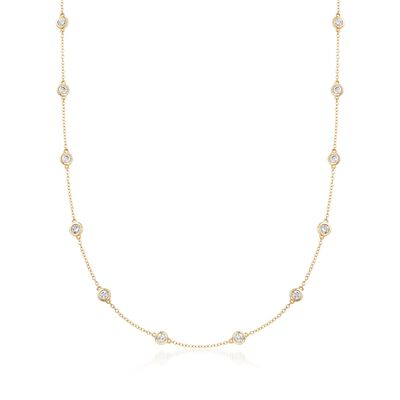 1.50 ct. t.w. Bezel-Set Diamond Station Necklace in 14kt Yellow Gold, , default