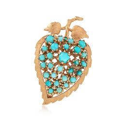 C. 1970 Vintage Turquoise Leaf Pin Pendant in 14kt Gold , , default