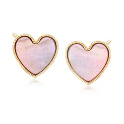 Italian Pink Mother-Of-Pearl Heart Stud Earrings in 18kt Gold Over Sterling, , default