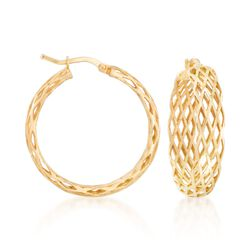 "Italian 18kt Gold Over Sterling Silver Lattice Hoop Earrings. 1 1/8"", , default"