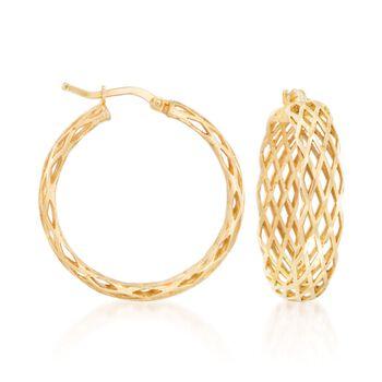 """Italian 18kt Gold Over Sterling Silver Lattice Hoop Earrings. 1 1/8"""", , default"""