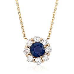 ".60 Carat Sapphire and .48 ct. t.w. Diamond Necklace in 14kt Yellow Gold. 16"", , default"