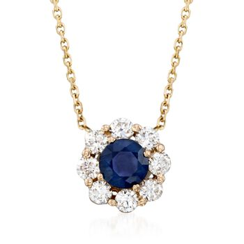 """.60 Carat Sapphire and .48 ct. t.w. Diamond Necklace in 14kt Yellow Gold. 16"""", , default"""