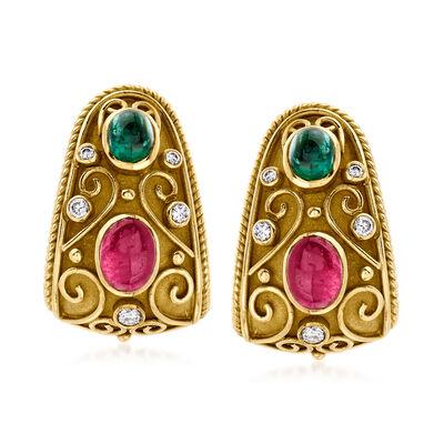 C. 1980 Vintage 3.00 ct. t.w. Ruby, 1.60 ct. t.w. Emerald and .35 ct. t.w. Diamond Earrings in 18kt Yellow Gold