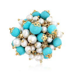 Italian 5.5-8mm Simulated Turquoise and 4-6mm Cultured Pearl Ring in 18kt Gold Over Sterling. Size 9, , default