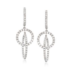 1.30 ct. t.w. Diamond Interlocking Circle Hoop Drop Earrings in 14kt White Gold, , default