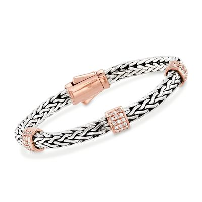 "Phillip Gavriel ""La Vie En Rose"" .72 ct. t.w. White Sapphire Station Bracelet in Sterling Silver and 18kt Rose Gold, , default"