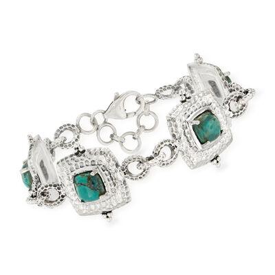 Green Turquoise Bracelet in Sterling Silver