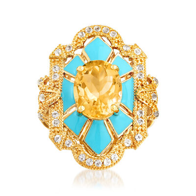 2.60 Carat Citrine and .30 ct. t.w. White Topaz Ring with Blue Enamel in 18kt Gold Over Sterling, , default