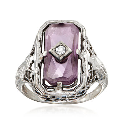 C. 1940 Vintage 2.95 Carat Amethyst Filigree Ring with Diamond Accent in 14kt White Gold, , default