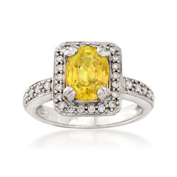 C. 2000 Vintage 2.30 Carat Yellow Sapphire and .40 ct. t.w. Diamond Ring in 18kt White Gold, , default
