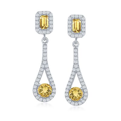 1.50 ct. t.w. Citrine and .84 ct. t.w. White Topaz Drop Earrings in Sterling Silver, , default