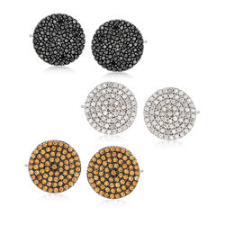 2.25 ct. t.w. CZ Jewelry Set: Three Pairs of Multicolored Stud Earrings in Sterling Silver, , default