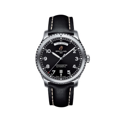 Breitling Navitimer 8 Men's 41mm Day-Date Stainless Steel Watch - Black Leather Strap