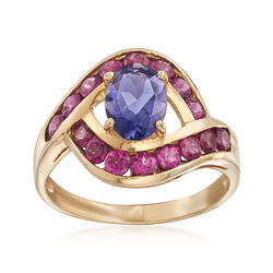 C. 1990 Vintage 1.95 ct. t.w. Rhodolite and Iolite Ring in 10kt Yellow Gold, , default