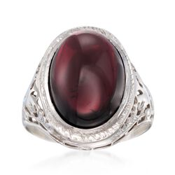 C. 1950 Vintage Garnet Cabochon Ring in 14kt White Gold. Size 4.75, , default