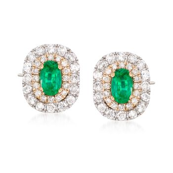 .50 ct. t.w. Emerald and .52 ct. t.w. Diamond Halo Earrings in 14kt Two-Tone Gold , , default