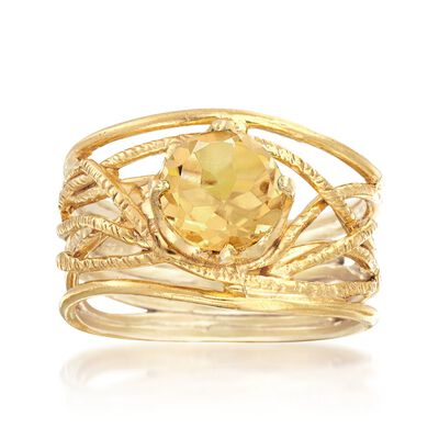 1.60 Carat Citrine Textured Openwork Ring in 18kt Gold Over Sterling, , default
