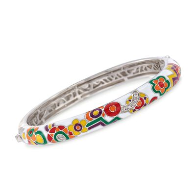 "Belle Etoile ""Constellations: Fiesta"" Enamel and .30 ct. t.w. CZ Bangle Bracelet in Sterling Silver, , default"
